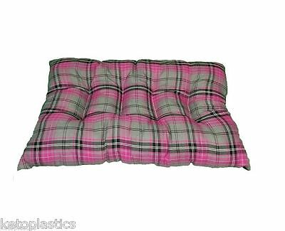 Brand New Rectangle Pink Tartan Dog Cat Pet Floor Cushion Basket Pillow Fleece