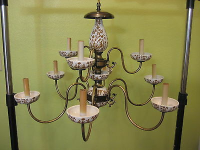 Vintage Italian Eight Arm Hand Painted Floral Porcelain Chandelier Circa 1960s