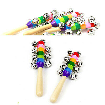 Rainbow Musical Instrument Toy Colorful Wooden Hand Jingle Ring Bell Rattle Kid
