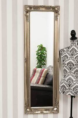 Large Silver Ornate Shabby Chic Big Wall Dress Mirror New 4Ft6 X 1Ft6 135 X 45cm
