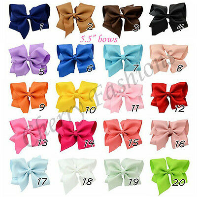 5.5 inch Large Bow Hair Alligator knot Clips Girls Ribbon Bows Kids Accessories