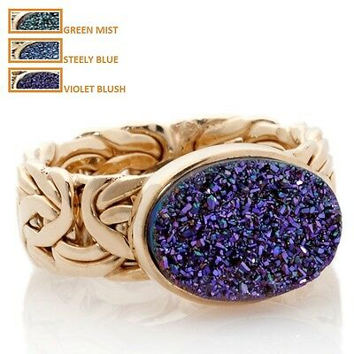 Technibond Oval DRUSY Byzantine Band Ring 14K Yellow Gold Clad Silver 925
