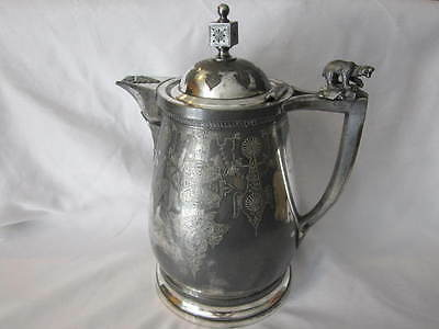 Antique 1800's Ornate Silverplated Porcelain Insulated Pitcher Meriden B Co