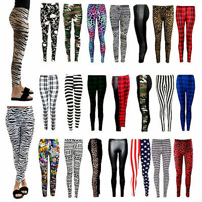 Women Ladies Full Length Printed Legging Jeggings Stretchy Pants Skinny Leggings