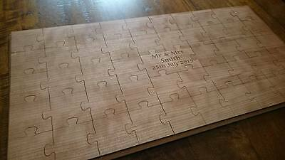 Personalised Wooden Wedding Jigsaw Guestbook : Wood Puzzle Guest book
