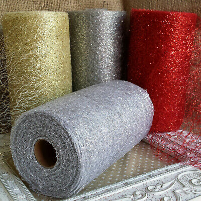 15cm Web Glitter Mesh Ribbon. Gold, Silver or Red. Wedding, Christmas, Tree