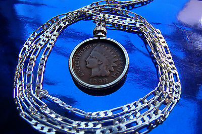 """Original Rare Indian Head Penny Pendant on a 30"""" 925 Sterling Silver Chain."""