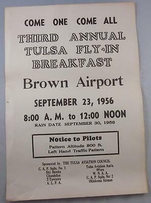 Tulsa Oklahoma Brown Airport September 1956 Fly In Breakfast  Poster