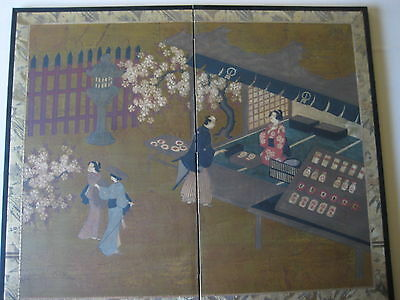 Original Japanese Painting On Paper 2 Panel Screen Byobu For Wall Hanging