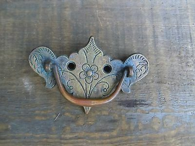 Vintage Brass Elephant Head Ornate Floral DRAWER PULL