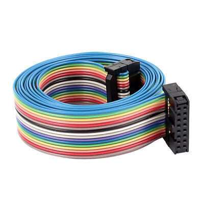 2.54mm Pitch 16Pin 16 Way F/F Connector IDC Rainbow Wire Flat Ribbon Cable 4.8ft