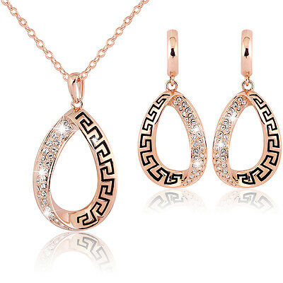 Hot 18K Gold plated bicolor crystal Pendant Bridal Necklace Earring Jewelry Set