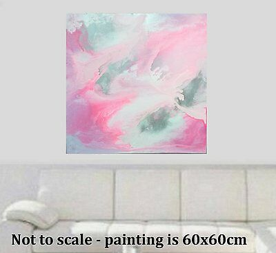 Stunning Pink silver Modern Painted Abstract Canvas Painting Original Art