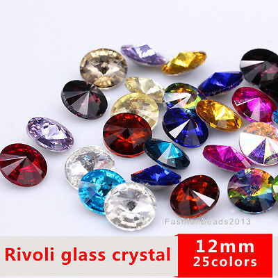 12pc Rhinestone Faceted Pointed back Foiled glass Jewels Craft Repair round 12mm