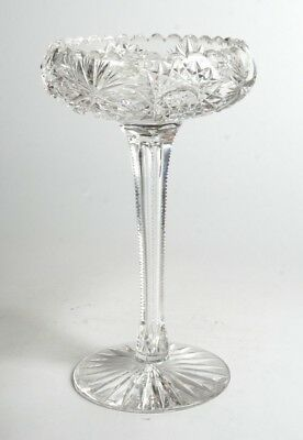 Abp Cut Glass Tall Compote W/ An Elongated Controlled Bubble In The Stem A