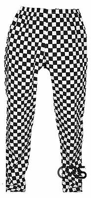 Black And White Check Chef Trousers Chef Pants Uniform Unisex Elasticated Waist