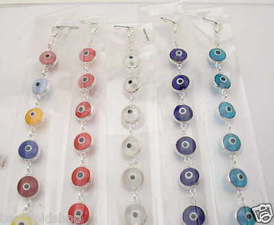 WHOLESALE 10 PCS Assorted Evil Eye Good Luck Bracelet REAL 925 Sterling Silver