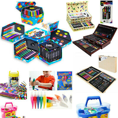 Kids Child's Craft Jar Art Set Artist Crayons Pens Paints Pencils