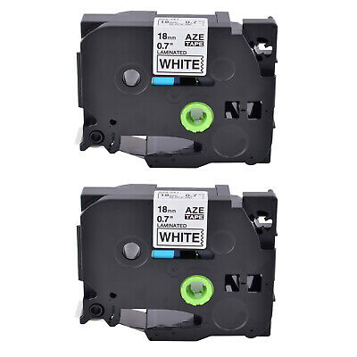 2Pack TZ 241 TZe241 Black on White Label Tape 3/4'' for Brother P-touch PT2030