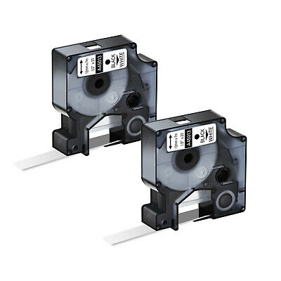 2PK Black on White Label Tape 12mm Compatible For DYMO D1 45013 LabelManager