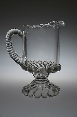 ca. 1894 RAY AKA BALL and SWIRK by McKee Brothers CRYSTAL Handled Creamer