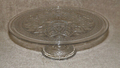 """Imperial Glass CAPE COD Crystal 10 1/2"""" CAKE PLATE Footed Stand USA"""