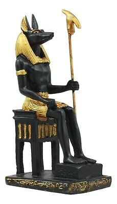 """Ancient Egyptian Miniature Doll House Small Sculpture God Anubis on Throne 3""""H"""