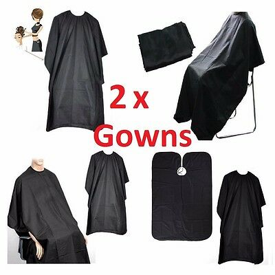 2 x BLACK HAIRDRESSING GOWN HAIR CUTTING CAPE BARBER HAIRDRESSER SALON GOWNS