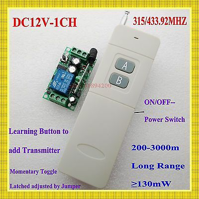 Long Distance Range Remote Control Switch DC12V Transmitter Receiver Light Lamp