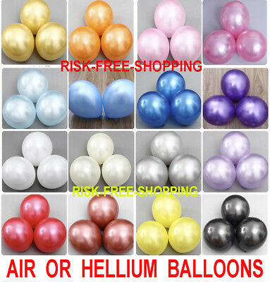 30-100 PEARL Metallic Helium Air Quality Party Birthday Wedding Balloons Baloons