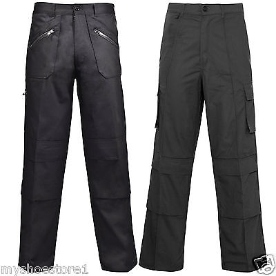 Mens Work Wear Trousers Combat Cargo Pants Knee Pad Pockets Casual Bottoms 30-56