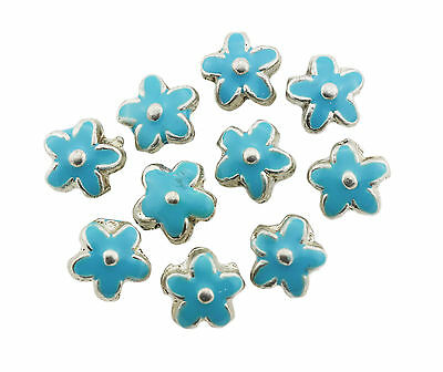 Silver Metal Flower Beads Enamelled Turquoise 15x6mm Pack of 10 (D13/2)