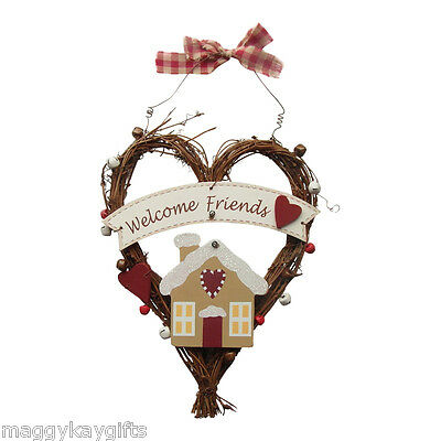 Welcome Friends - Gingerbread House Vine Heart Hanger with Bells - Doors - Walls