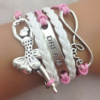 NEW Infinity Love Dream Ballet Girl Friendship Leather Charm Bracelet Silver  !!