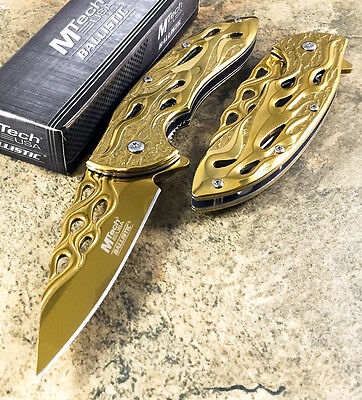 "8"" MTECH TACTICAL Spring Assisted Open GOLD Flame Pocket Knife MT-A822GD"