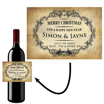 Personalised Wine Bottle Label Sticker Merry Christmas Vintage Shabby Chic- B30