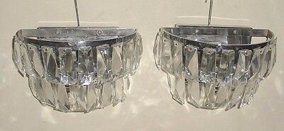 Pair Metal Wall Lighting Fixture Sconces With Faceted Glass Hanging Pendants