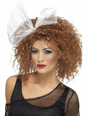 1980's Wild Child Brown Curly With Bow Fancy Dress Costume Wig Accessory
