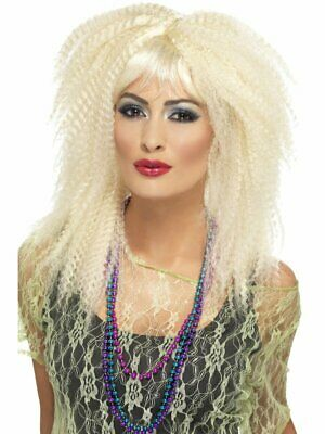 1980's Trademark Crimp Fringed Wig Fancy Dress Accessory Blonde Layered
