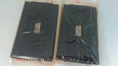 Lot of 2 P&S vintage brown 1 gang 1 switch plastic electrical cover plate