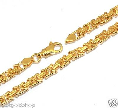 Mens Long 6mm Solid Fancy Byzantine Chain Necklace Brass Yellow Gold Tone