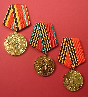 Lot of 3 Soviet WW2 VICTORY ANNIV. MEDALS Original USSR Russian Vet Award A+Cond