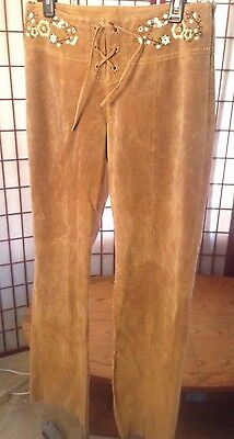 Wilsons Maxima Suede Leather Hippie Western Style Pants Embroidered Flowers (10)