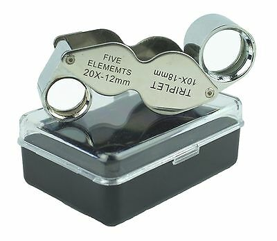20x & 10x Dual Jewelers Magnifying Eye Glass Loupe Doublet Butterfly Magnifier