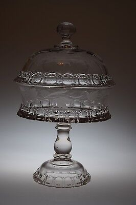 "ca. 1886 APOLLO Adams & Co CRYSTAL 7"" D 11.5""H Compote w/Lid & Bellflower Cut"