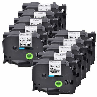 10PK 24mm Tz 251 TZe251 Black on White Label Tape For Brother P-touch  PT2730