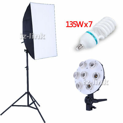 "23.5""X35.5"" Rectangle l Softbox 7x light Holder Lamps 135Wx7 Stand Studio Kit"