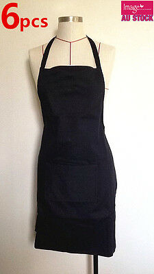 6 x Plain Black Apron Cotton Washable Kitchen Cooking Butchers with Craft Pocket