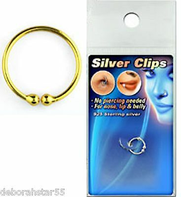 Small Gold Plate Sterling Silver Fake Nose Lip Ring 10mm Cheat Body Piercing