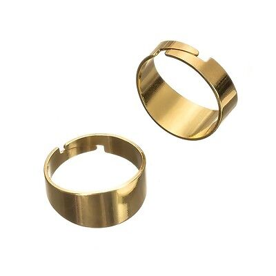 Adjustable Ring Bases Gold Plated - Flat 10mm Wide Pack of 2 (G96/1)